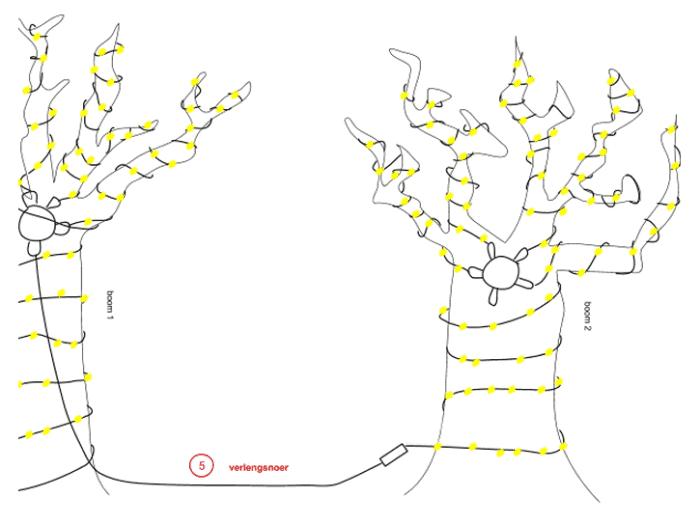 kerstverlichting boom aanbrengen